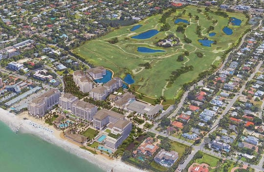 This rendering depicts plans for redevelopment of The Naples Beach Hotel and Golf Club.
