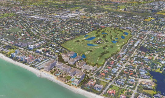 Aerial showing plans for the redevelopment of The Naples Beach Hotel.