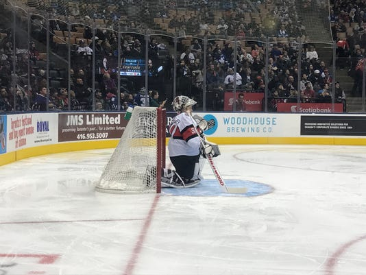 Martin Brodeur's son Anthony takes his place in net