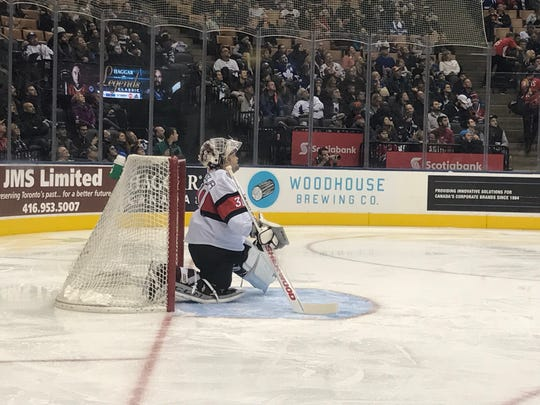Martin Brodeur's son Anthony takes his place in net during the 2018 Hockey Hall of Fame Legends Game.