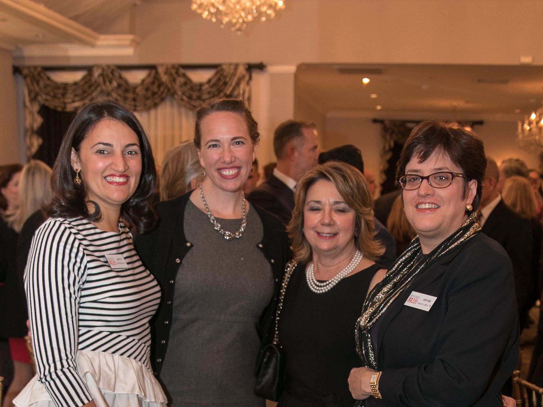 Anita DaSilva, Kimberly Malone, Marina Chassavis, Joyce Luhrs. The Bergen Volunteer Center celebrated its 10th anniversary of the Bergen LEADS program at The Hearts of Gold Dinner and Auction at the Stony Hill Inn in Hackensack. 11/08/2018