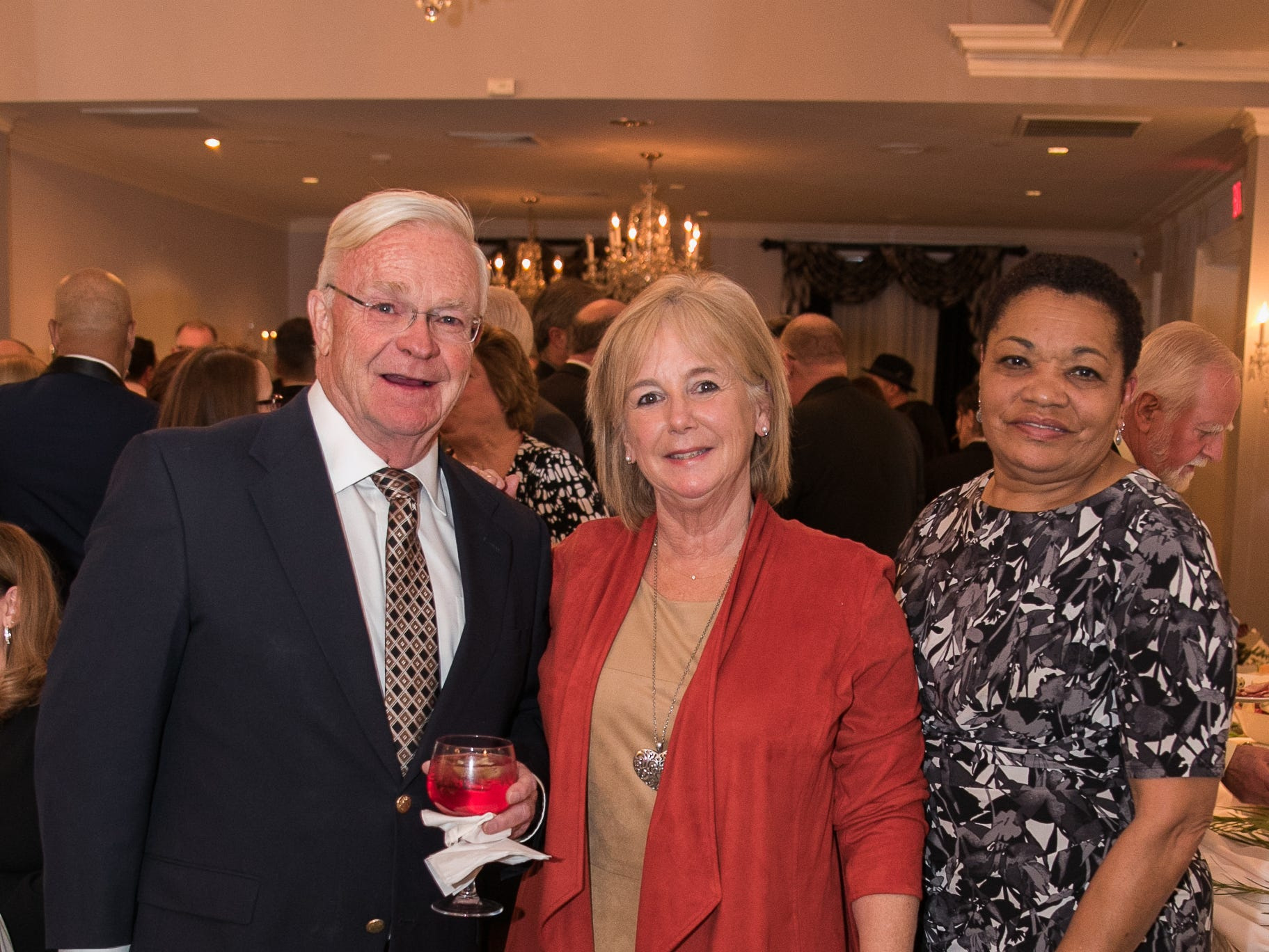 Tim and Michele Ogden, Carolyn Myles. The Bergen Volunteer Center celebrated its 10th anniversary of the Bergen LEADS program at The Hearts of Gold Dinner and Auction at the Stony Hill Inn in Hackensack. 11/08/2018
