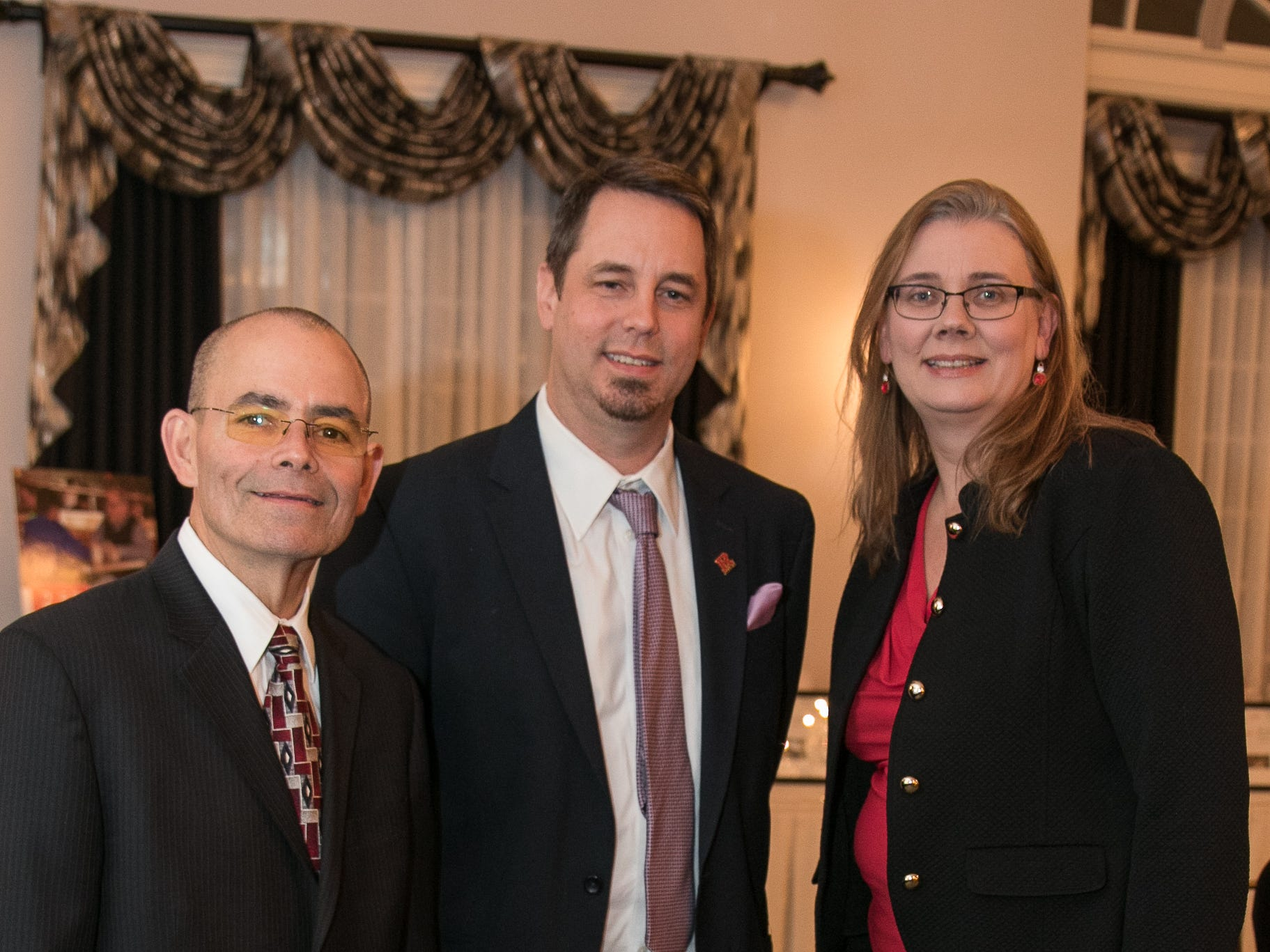 Tim Franco, Jeremy Guenter, Yvonne Zuidema. The Bergen Volunteer Center celebrated its 10th anniversary of the Bergen LEADS program at The Hearts of Gold Dinner and Auction at the Stony Hill Inn in Hackensack. 11/08/2018