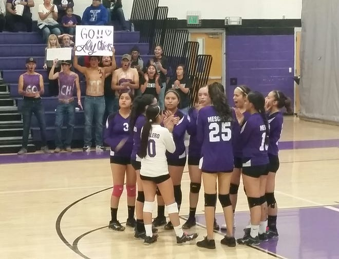 Class of 2020 cheer on the Mescalero Apache Lady Chiefs in the volleyball district playoff game. Mescalero hosted the Capitan Lady Tigers last week, but lost 1-3 games.