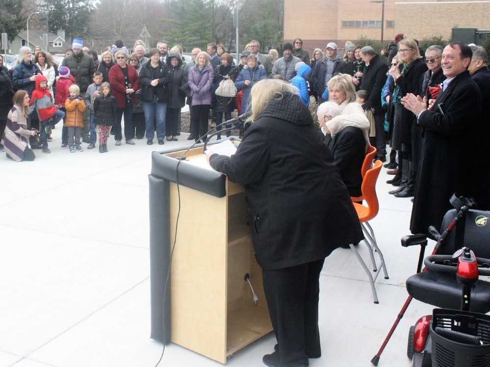 A large crowd braved chilly temperatures to attend Sunday's Old Village School open house.