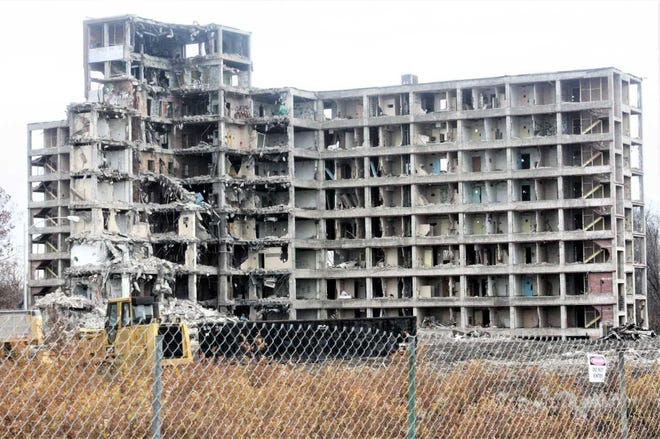 The demolition process of the former state psychiatric hospital in Northville Township is moving along slowly, but safely.