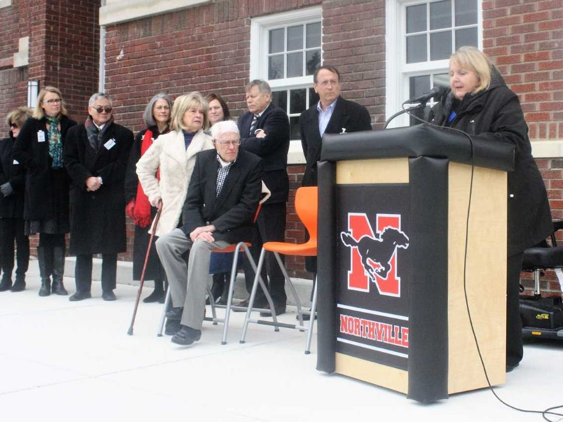 Northville Schools Superintendent Mary Kay Gallagher thanks the dignitaries who attended Sunday's open house.