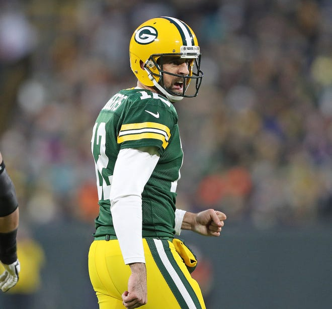 Green Bay Packers quarterback Aaron Rodgers barks at the referee against the Miami Dolphins at Lambeau Field Sunday, November 11, 2018, in Green Bay, Wis.