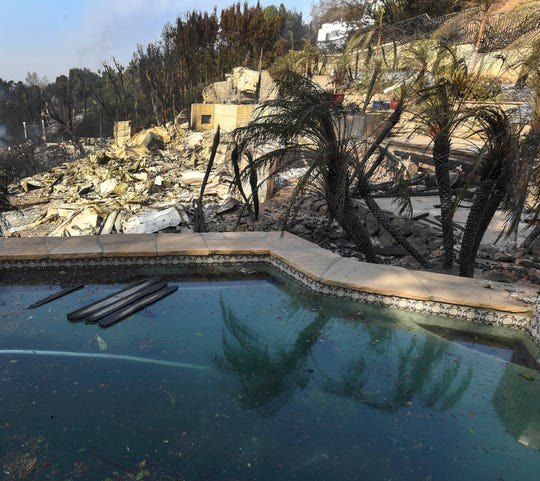 The remains of a home on Harvester Road in Malibu. The neighborhood was over run by the Woosley Fire which has consumed over 70,000 acres as of 11/10/2018.