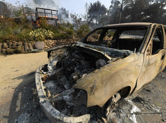 The burned out remains of an pickup truck at near Harvester Road in Malibu. The neighborhood was over run by the Woosley Fire which has consumed over 70,000 acres as of 11/10/2018.
