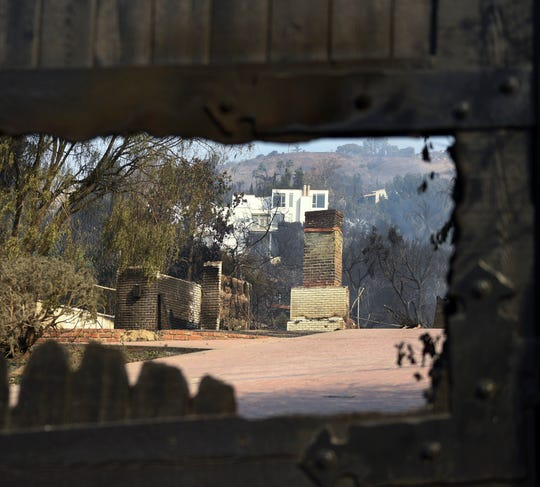 The burned out remains of a home onHarvester Road in Malibu. The neighborhood was over run by the Woosley Fire which has consumed over 70,000 acres as of 11/10/2018.