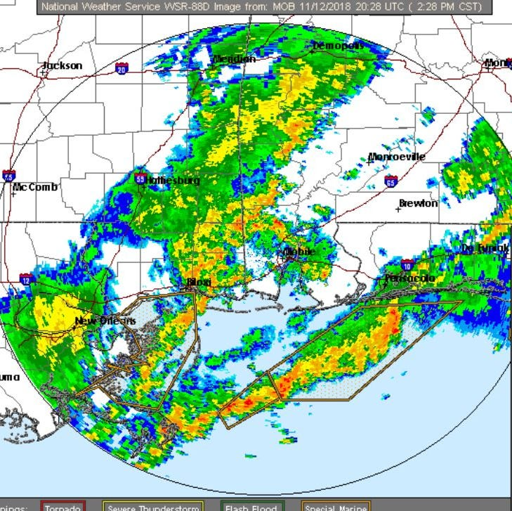 The National Weather Service says a new line of thunderstorms coming into the Pensacola area from Mississippi have a chance to produce more severe weather, as well as a cold front.