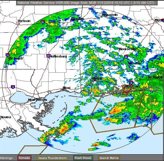 The National Weather Service radar indicated rotations in a storm over Gulf Breeze at 9:07 a.m. Monday.