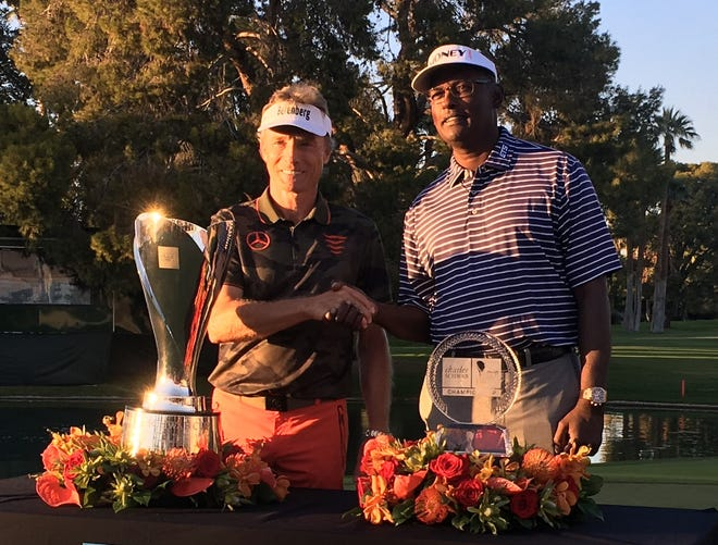 Two hall of famers, Bernhard Langer (left) and Vijay Singh (right) celebrate victories at the Charles Schwab Cup Championship at Phoenix Country Club on Nov. 11.