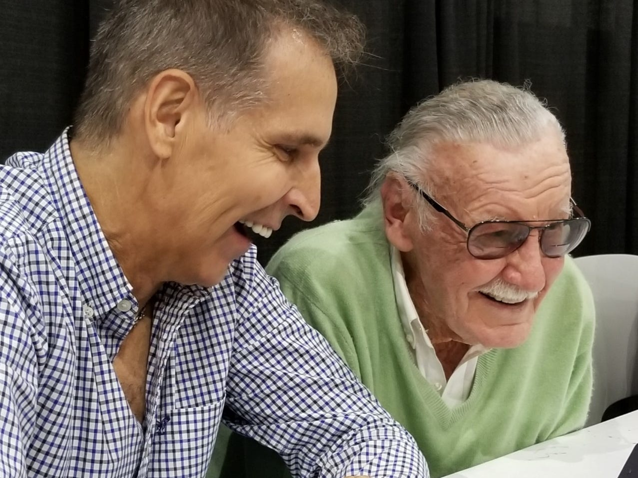 Spawn creator and McFarlane Toys founder Todd McFarlane (left) and Marvel Comics legend Stan Lee. Lee died Nov. 12 at age 85.