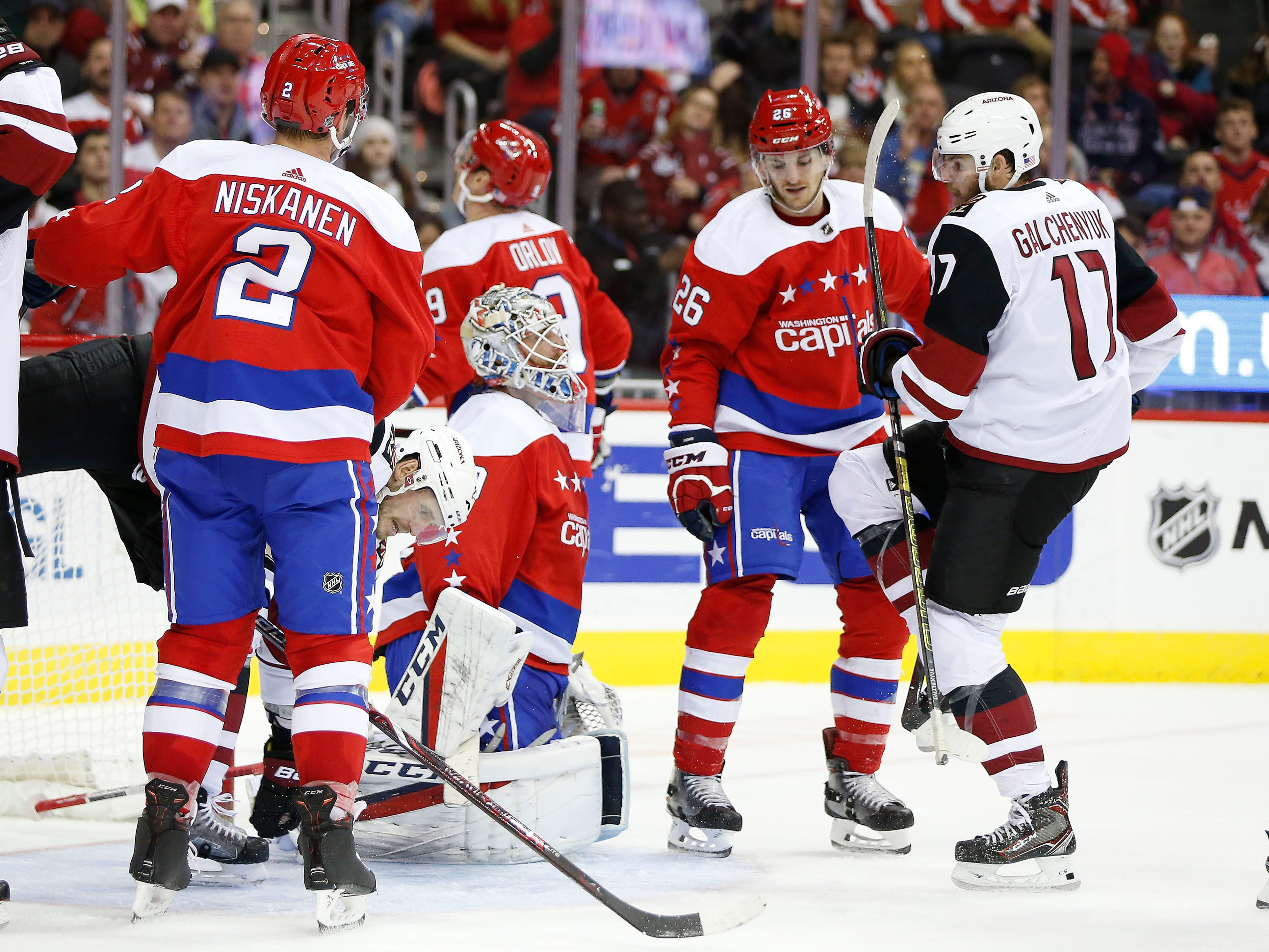 Nov 11, 2018; Washington, DC, USA; Arizona Coyotes center Alex Galchenyuk (17) celebrates after scoring a goal past Washington Capitals goaltender Braden Holtby (70) during the second period at Capital One Arena. Mandatory Credit: Amber Searls-USA TODAY Sports