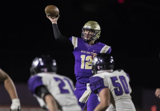Notre Dame Prep quarterback Jake Farrell  looks to pass during their game with Millennium in Scottsdale, Friday, Nov. 9,  2018. #azhsfb