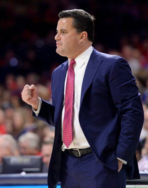 Arizona Wildcats head coach Sean Miller calls to his players Nov 7, 2018, during the first half against the Houston Baptist Huskies at McKale Center.