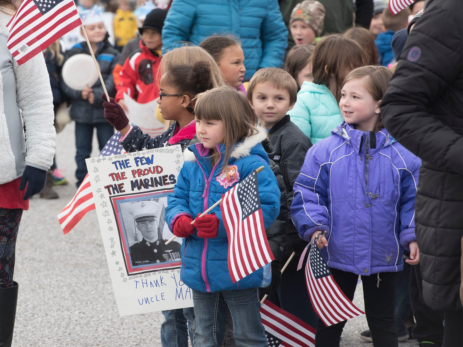 Students walk during a Veterans Day Parade sponsored by James Burd Elementary School, Shippensburg. Last year, Burd hosted its own parade because the Shippensburg parade was canceled. Now the event is becoming a tradition.