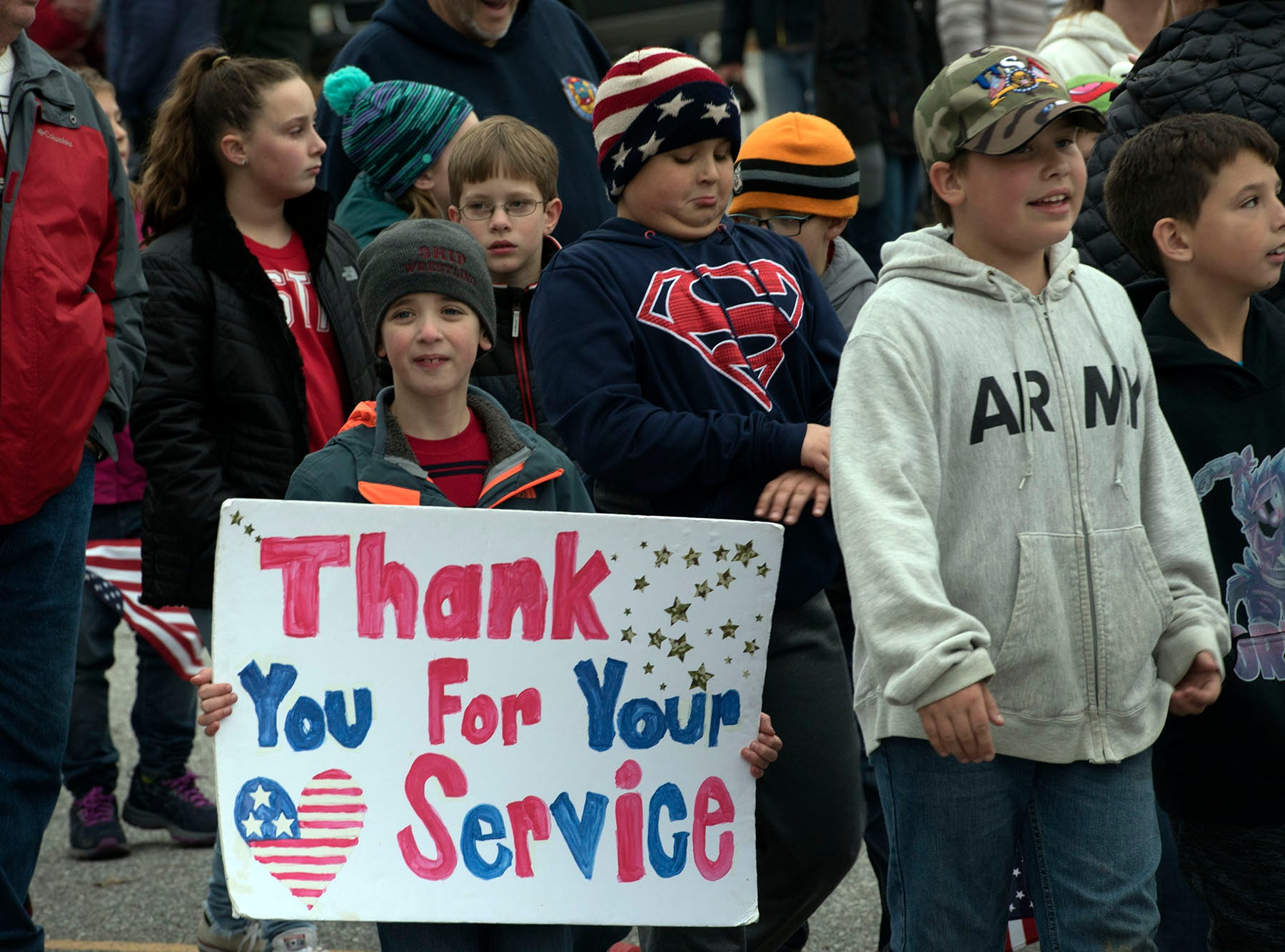 Students and servicemen and women walk during a Veterans Day Parade sponsored by James Burd Elementary School, Shippensburg. Last year, Burd hosted its own parade because the Shippensburg parade was canceled. Now the event is becoming a tradition.