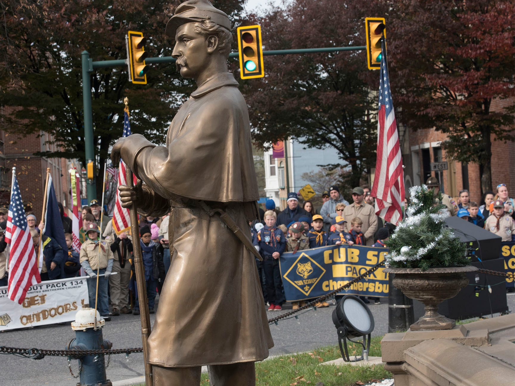 Thge Verterans Day Parade and ceremony to honor members of the military was held Monday, November 12, 2018 along Lincoln Way East and at Memorial Square.