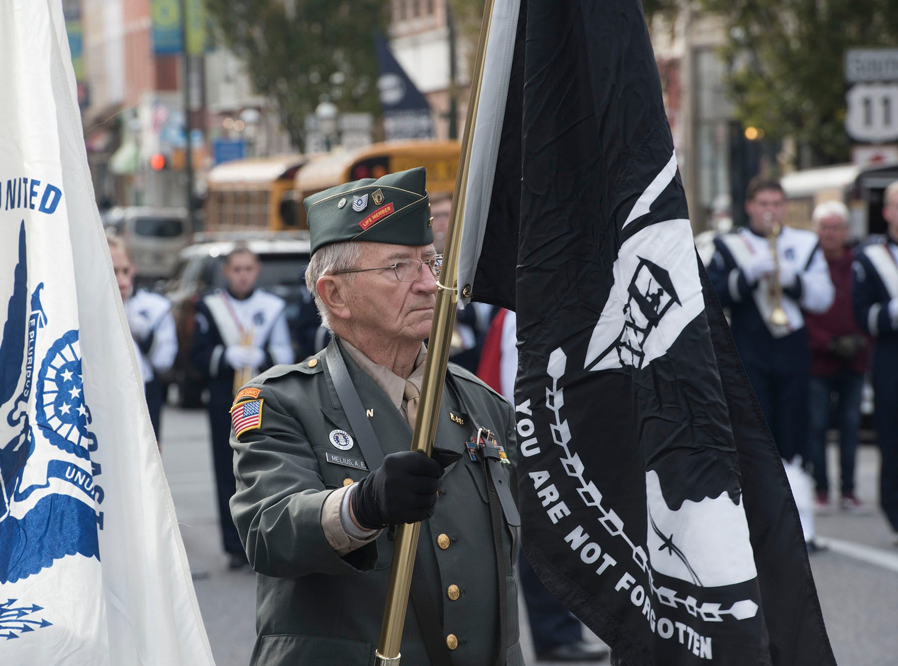 The Veterans Day Parade and ceremony to honor members of the military was held Monday, November 12, 2018 along Lincoln Way East and at Memorial Square.
