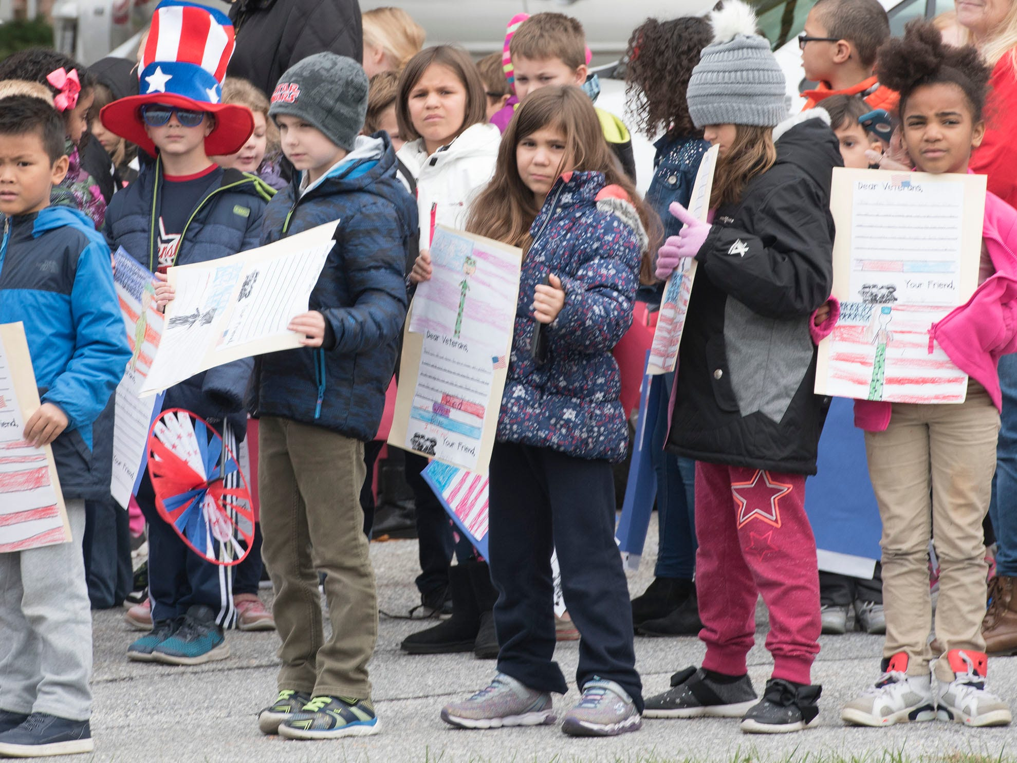 Students prepare to walk during a Veterans Day Parade sponsored by James Burd Elementary School, Shippensburg. Last year, Burd hosted its own parade because the Shippensburg parade was canceled. Now the event is becoming a tradition.
