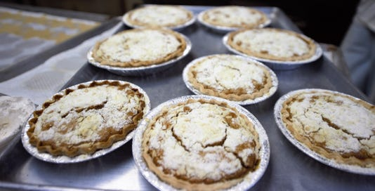 A rack of shoofly pies fresh out of the oven at Myers Salad and Pastries in Dallastown.