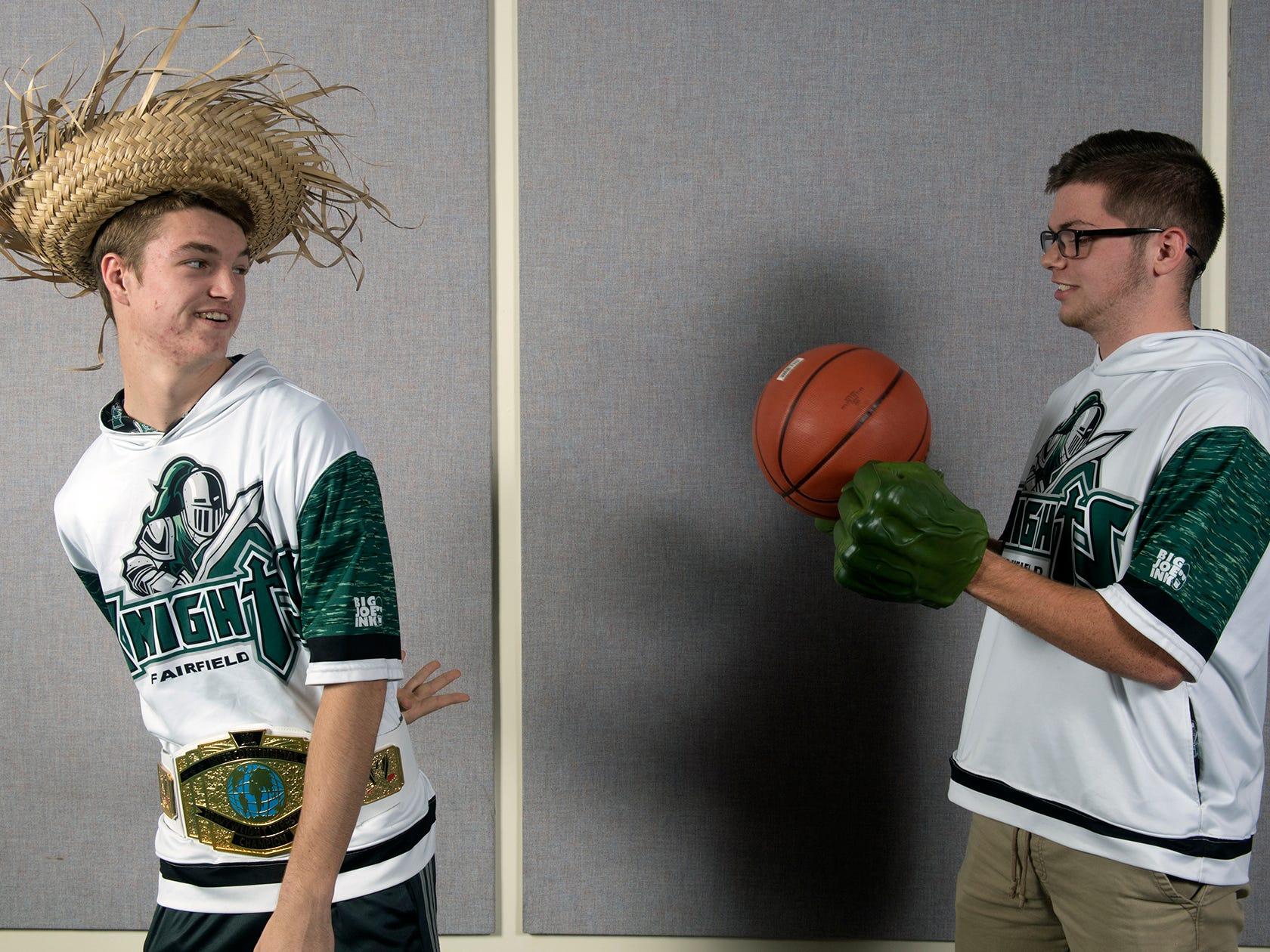 Joey Quealy, left, and Josh Kollars, with the Fairfield High School boys basketball team, pose during the 2018-19 GameTimePa YAIAA Winter Media Day Sunday November 11, 2018.