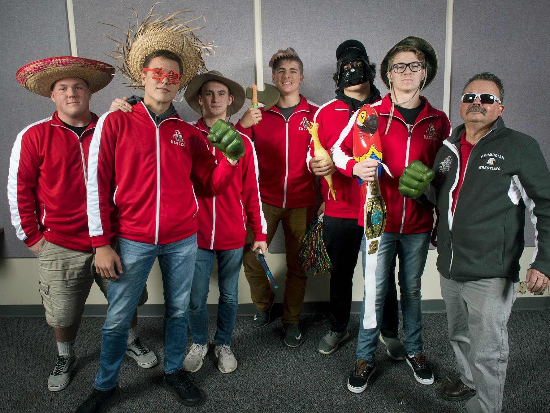 From the left, Ryan Lauver, Trace Grim, Tyler Rawson, Nate McCollum, Chase Dull, Tanner Althoff and Coach Dave McCollum, of the Bermudian Springs High School wrestling team, pose during the 2018-19 GameTimePa YAIAA Winter Media Day Sunday November 11, 2018.