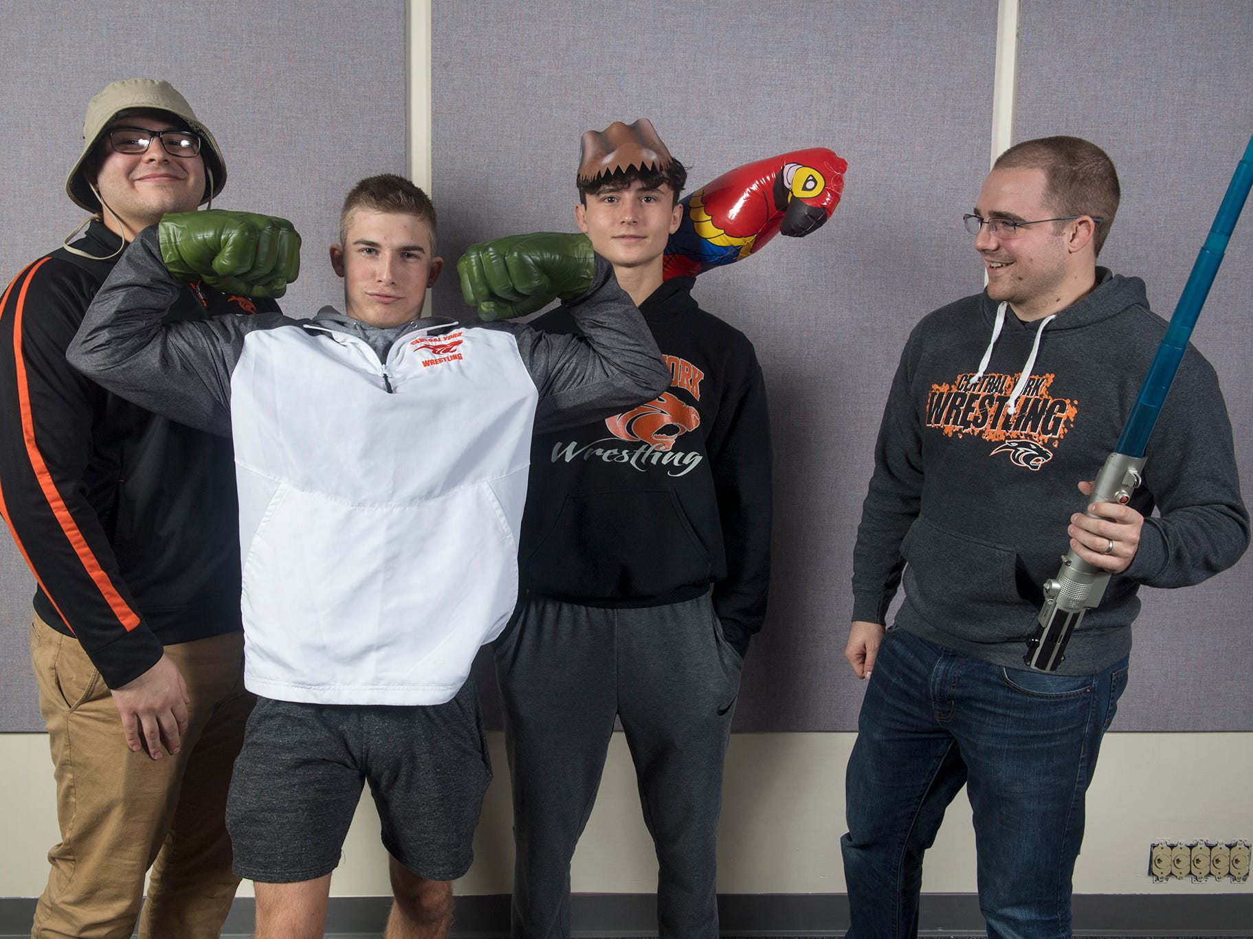 From the left, Michael Wolfgram, Logan Paluch, Mason Myers, and Seth Beitz, of the Central York wrestling team, pose during the 2018-19 GameTimePa YAIAA Winter Media Day Sunday November 11, 2018.