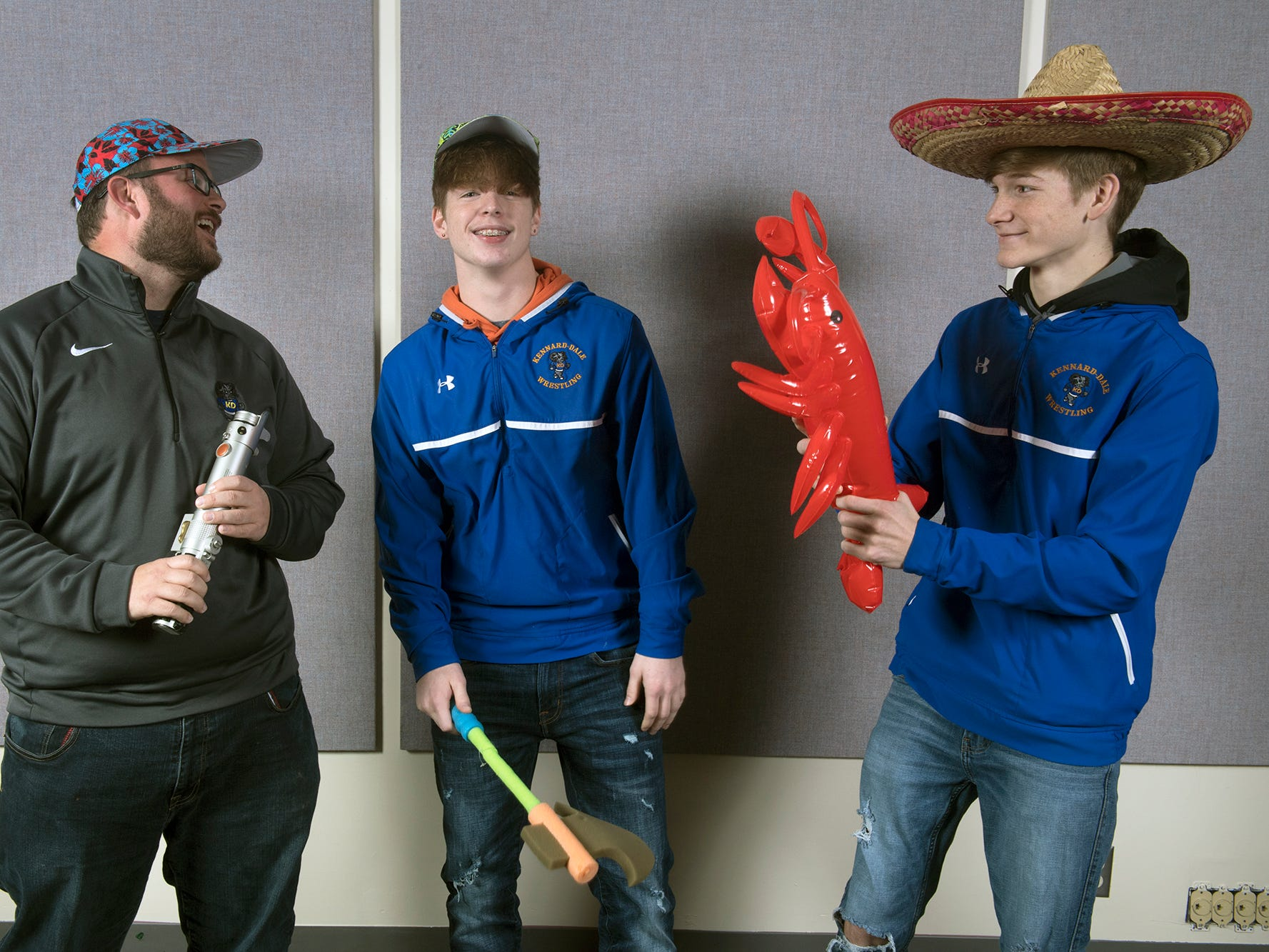 From the left, coach Jim Waltermyer, Nick Bradley and Daeman Davis, of the Kennard-Dale wrestling team, pose during the 2018-19 GameTimePa YAIAA Winter Media Day Sunday November 11, 2018.