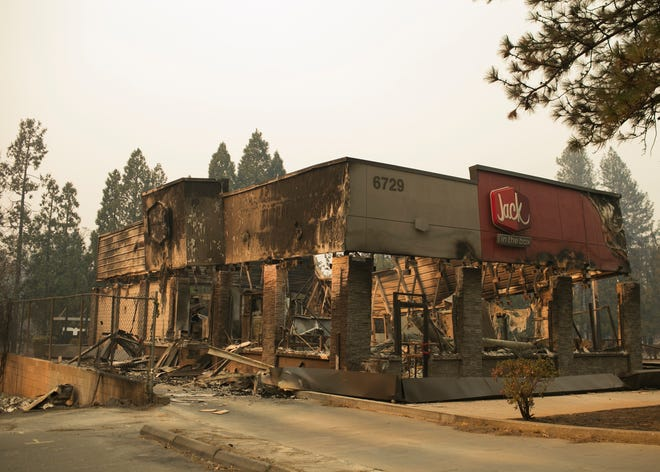 Jack in the Box was destroyed after the Camp Fire swept through Paradise on Nov. 8.