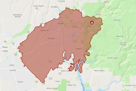 Map of the area devastated by the Camp Fire. The fire destroyed 113,000 acres and was 25 percent contained as of Monday morning.