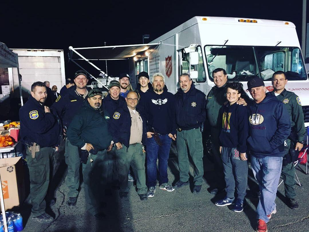 Celebrity chef served a surprise meal at Butte College to law enforcement officers fighting the Camp Fire on Nov. 11.