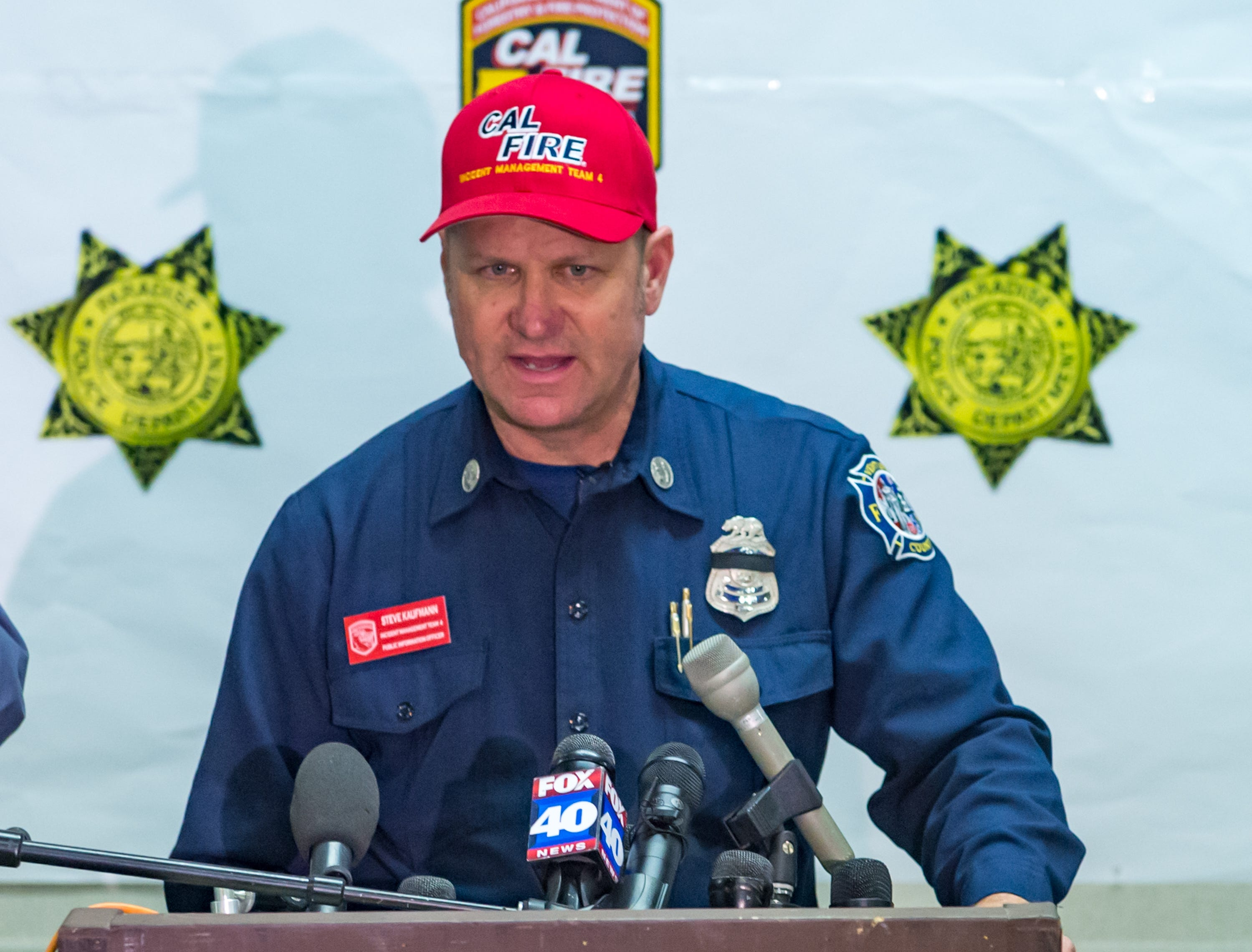 Steve Kaufman- Public Information Officer for Cal Fire speaking at Press Conference. Sunday, Nov. 11, 2018.