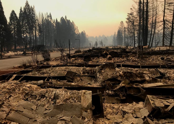 The Ridgewood Mobile Home Park in Paradise was virtually destroyed Thursday by the Camp Fire.