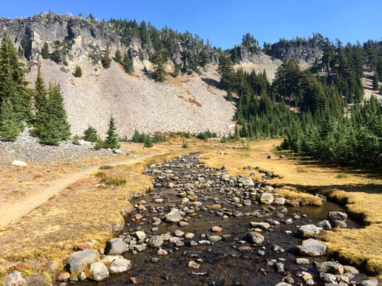 A creek and trail along the Pacific Crest Trail in the Obsidian Trail Limited Entry area.
