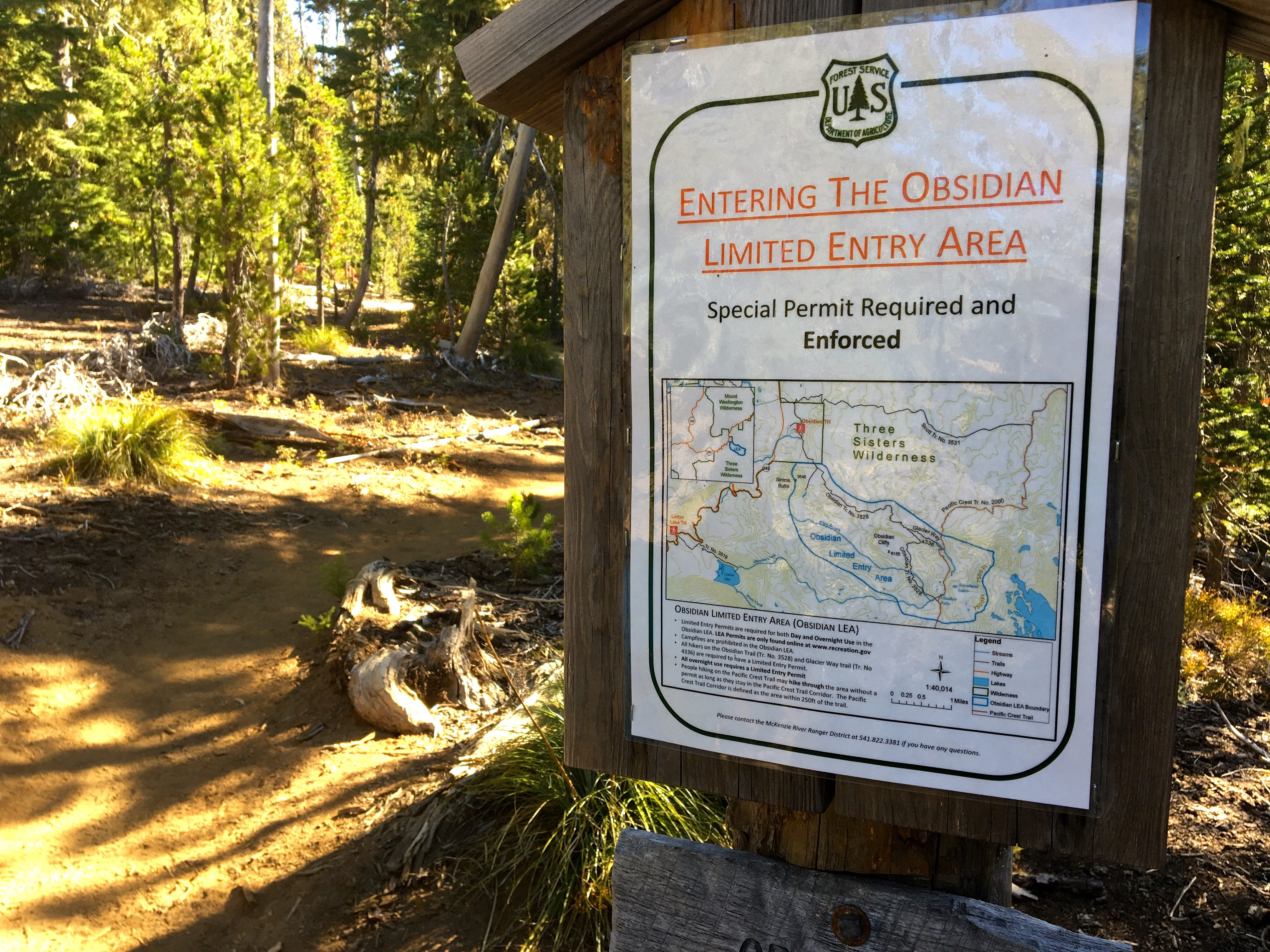 Obsidian Trail, in the Three Sisters Wilderness, requires a special permit to enter.