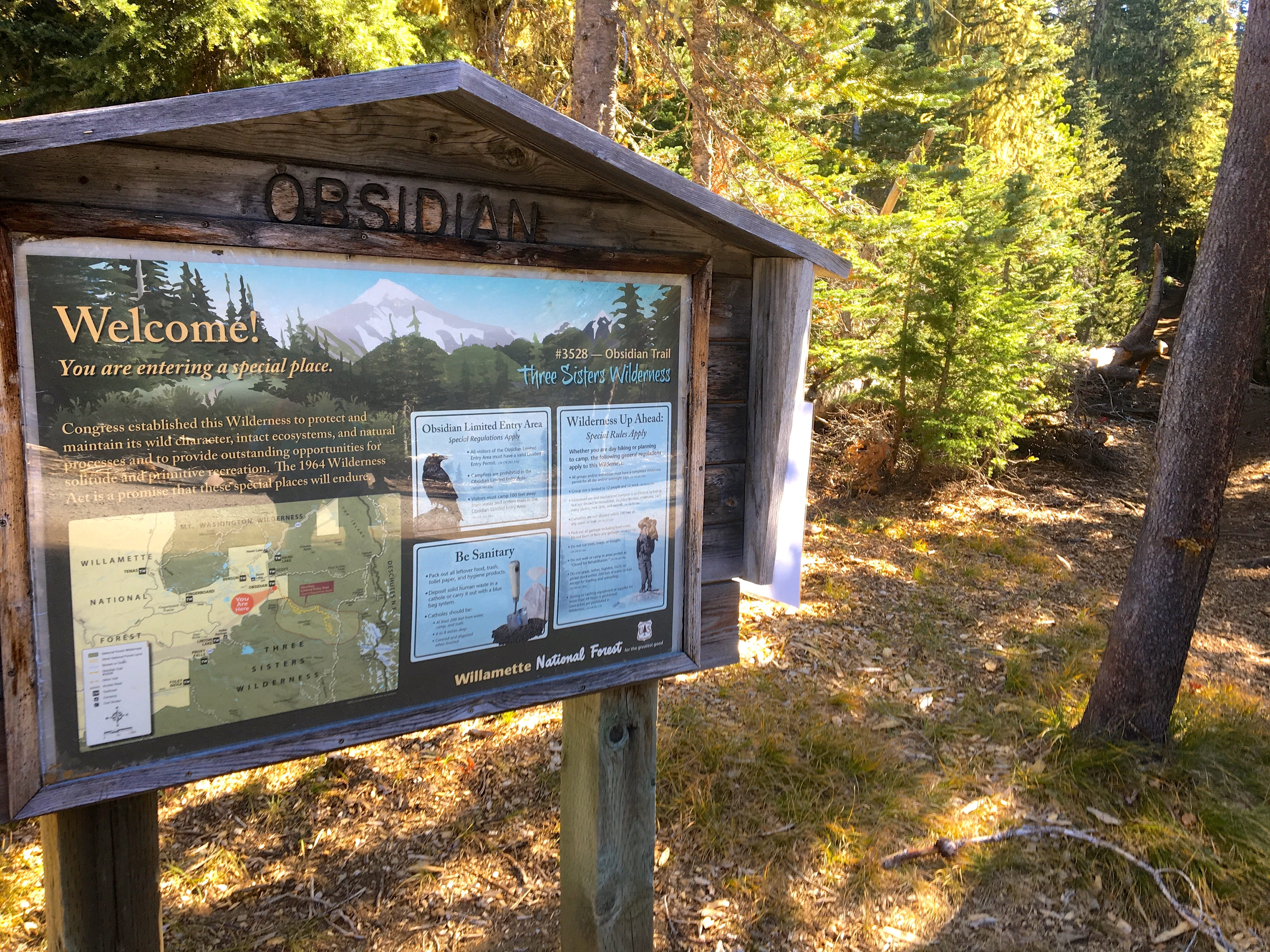 Obsidian Trail, in the Three Sisters Wilderness, requires a permit to enter.