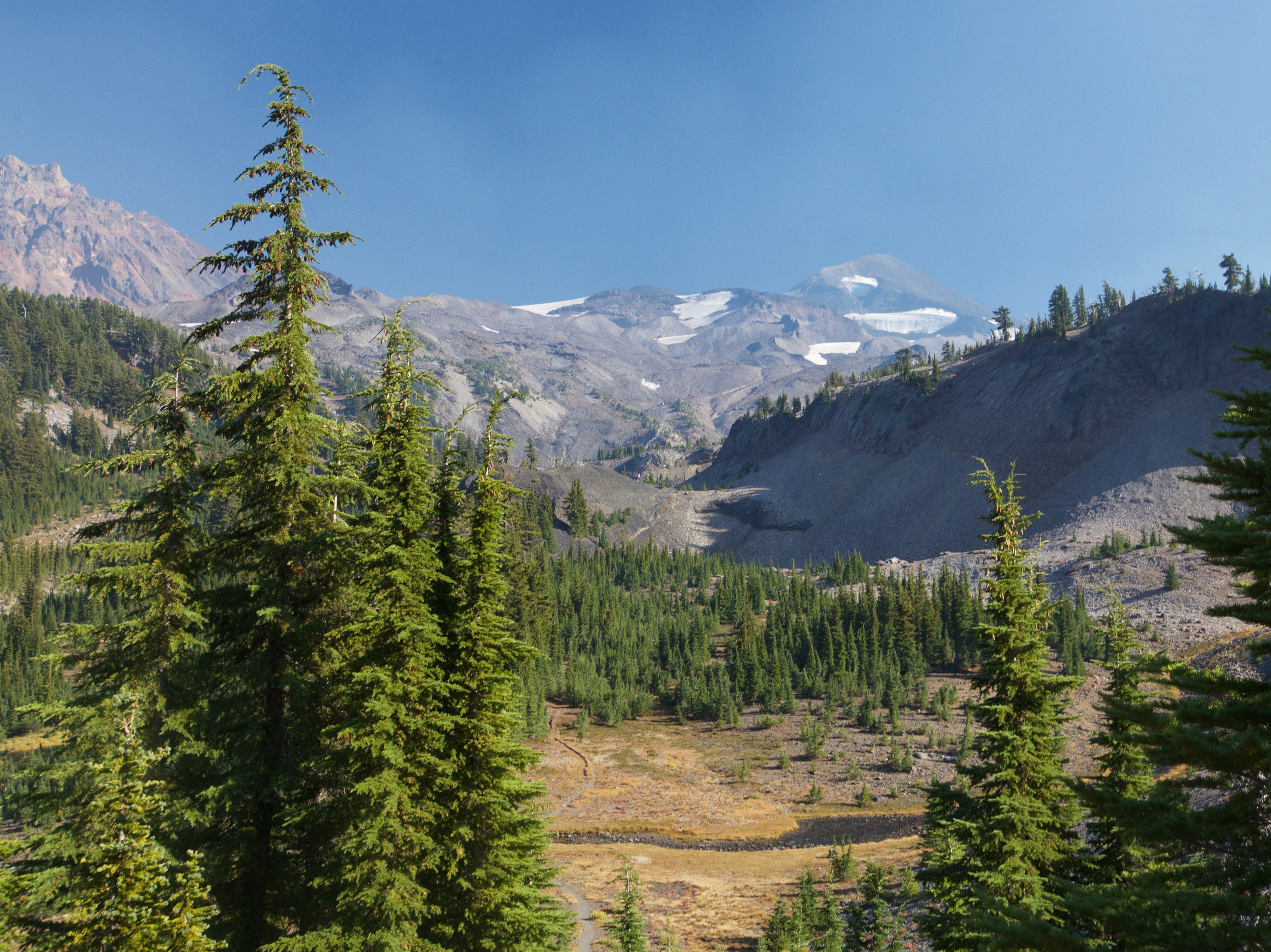 Views of Middle Sister and North Sister from the Obsidian Limited Entry Area.