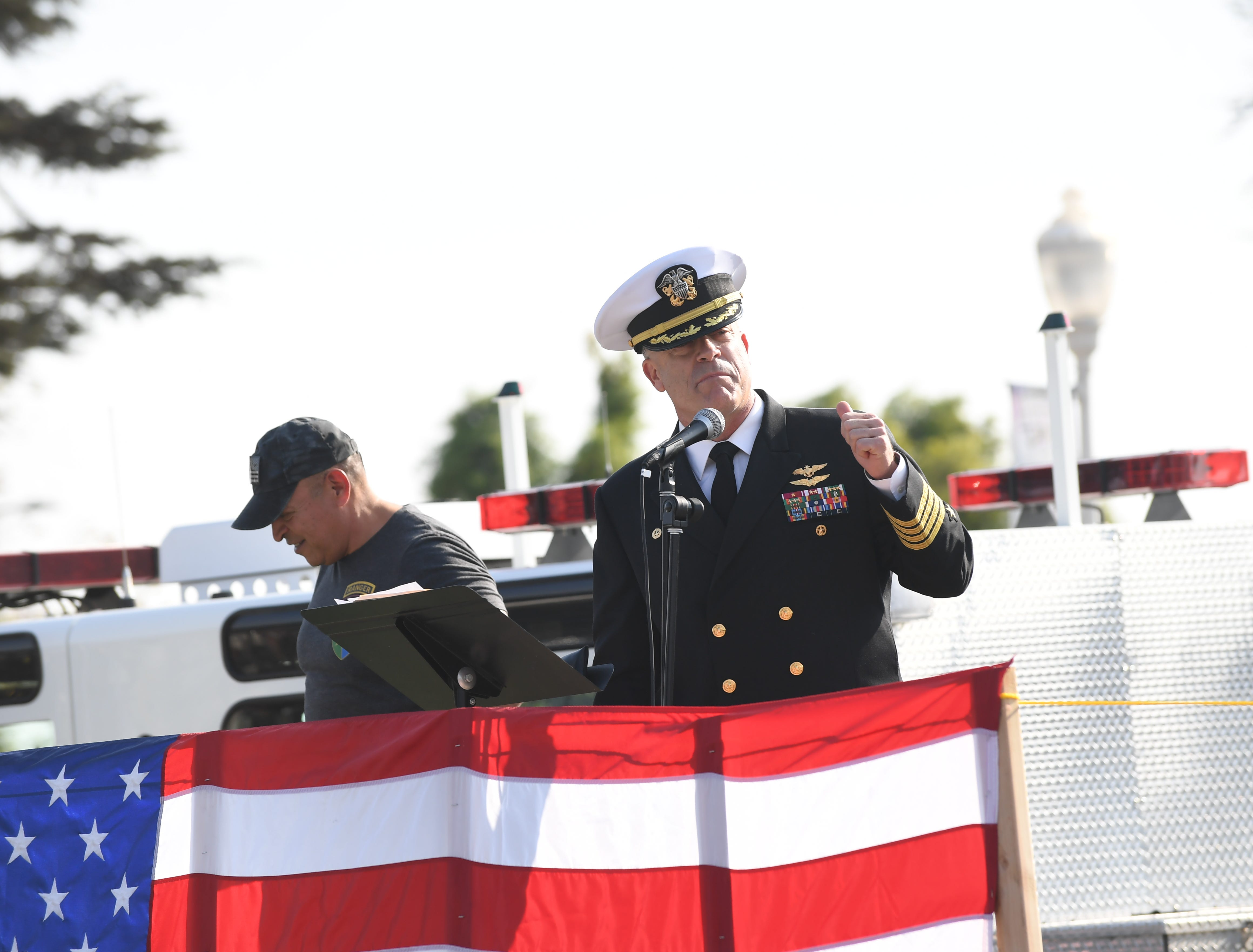 Capt. Rich Wiley, commander of Naval Support Activity Monterey and a Greenfield native, addresses the crowd at Sunday's eighth annual Monterey County Veterans Day Parade.