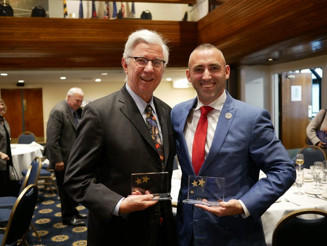 Salisbury Mayor Jake Day and fellow award recipient, former Maryland Gov. Parris Glendening at the Partners for Livable Communities event on Monday, Nov. 11, 2018.