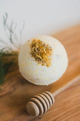 This calendula, oats and honey bath bomb bath bomb ($2.49-$7.99) is made by Poppy & Petunia, a line made by Ashley Ensley of Springfield. Ensley makes a vast range of bath products, from Star Wars-themed mini-soaps to Moroccan clay masks perfumed with rosewater.