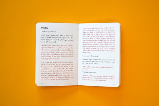 Manuscripts, a set of the four Gospels of the New Testament ($28), was created in late 2017 by a trio of young designers in Springfield. The books fit into a pocket. Words attributed to Jesus are in red, but Mansucripts removes the verse numbers standard to most biblical editions.