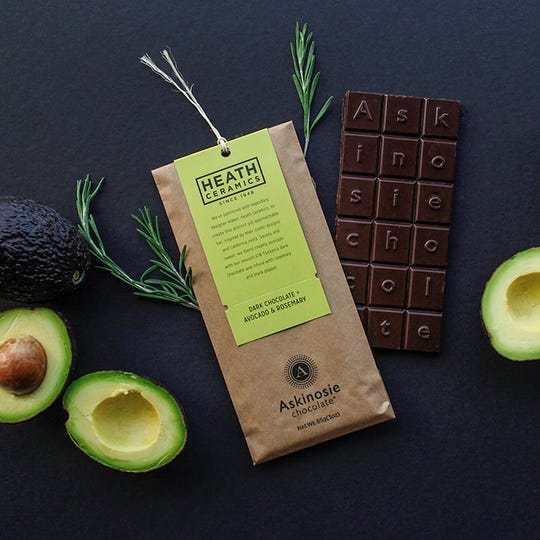 Askinosie Chocolate added a dark chocolate bar made with avocado and rosemary ($9) in September, the first American craft chocolate bar to be made with Haas avocado as an ingredient.