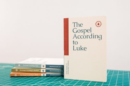 Manuscripts, a set of the four Gospels of the New Testament ($28), was created in late 2017 by a trio of young designers in Springfield. The books are the size of a smartphone, fit into a pocket, and remove verse numbers standard to most biblical editions.