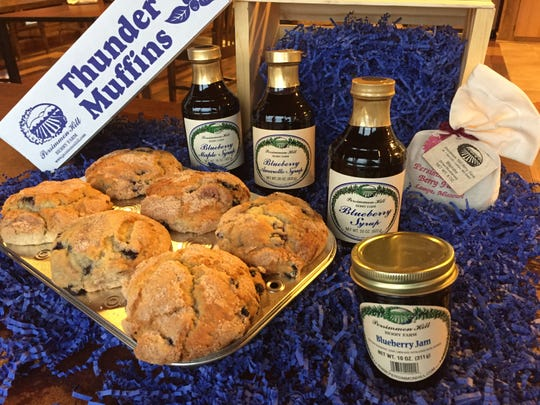 Persimmon Hill Farm's Blueberry Bonanza ($63.70) includes freshly-baked Thunder Muffins, blueberry maple syrup, blueberry amaretto syrup, classic blueberry syrup, blueberry jam and dried blueberries, all of it prepared from berries grown on the Lampe-area farm.