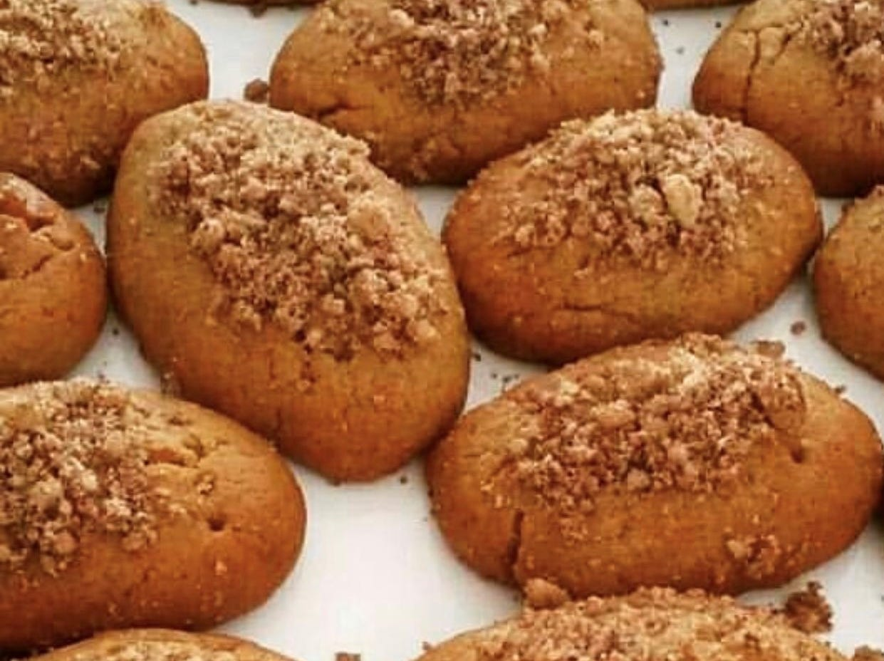 Greek Belly will offer a Holiday Greek Sweets Box during December, including melomakarona, honey-dipped Christmas cookies (pictured); kourabiedes, Christmas butter cookies powdered with sugar; and touloumbes, syrupy fried choux pastry. A box of a dozen is $15-$18.