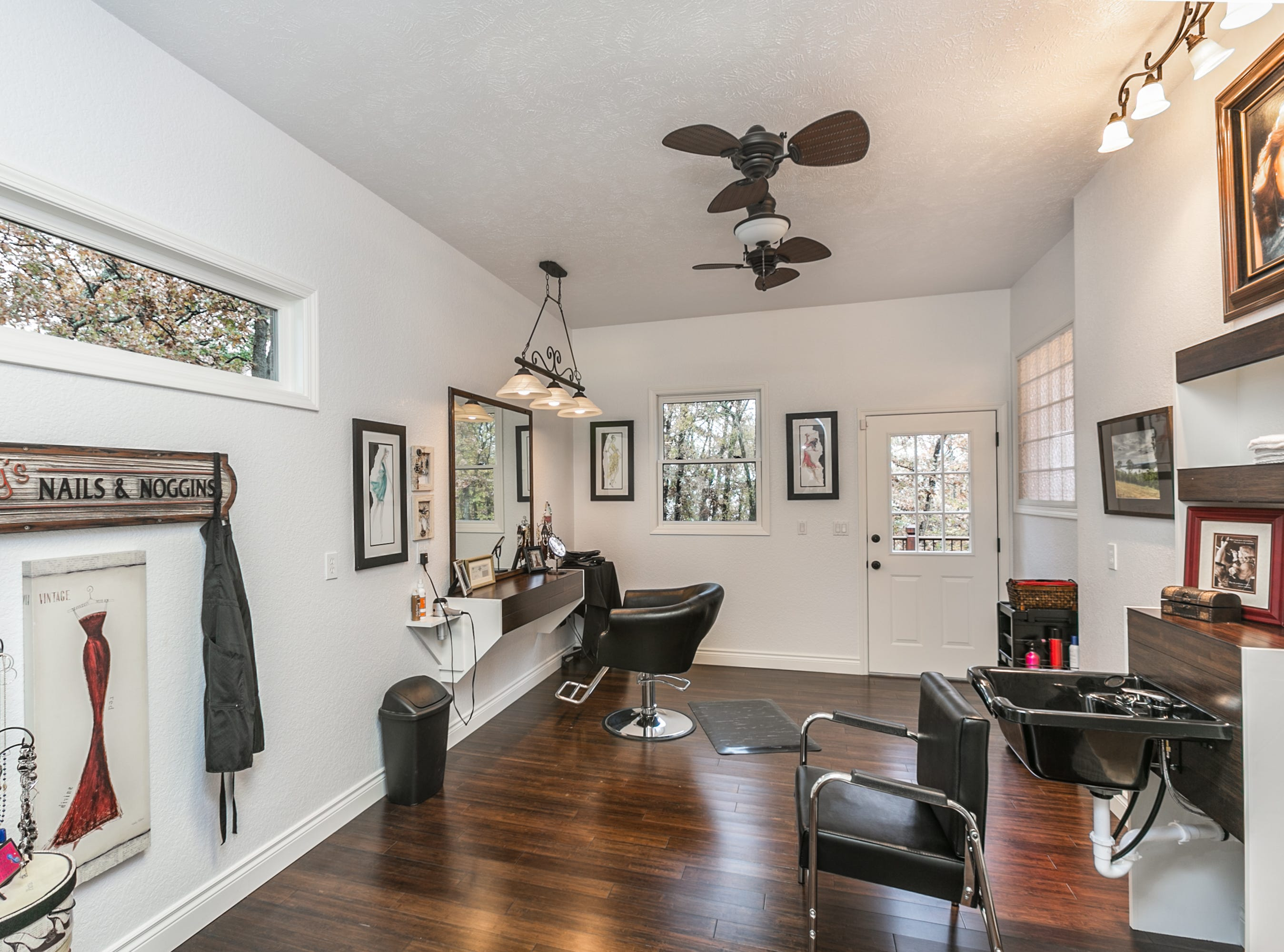 Cindy says this is where the beauty happens. The salon is accessible through the master closet or via an exterior door on the back of the house.